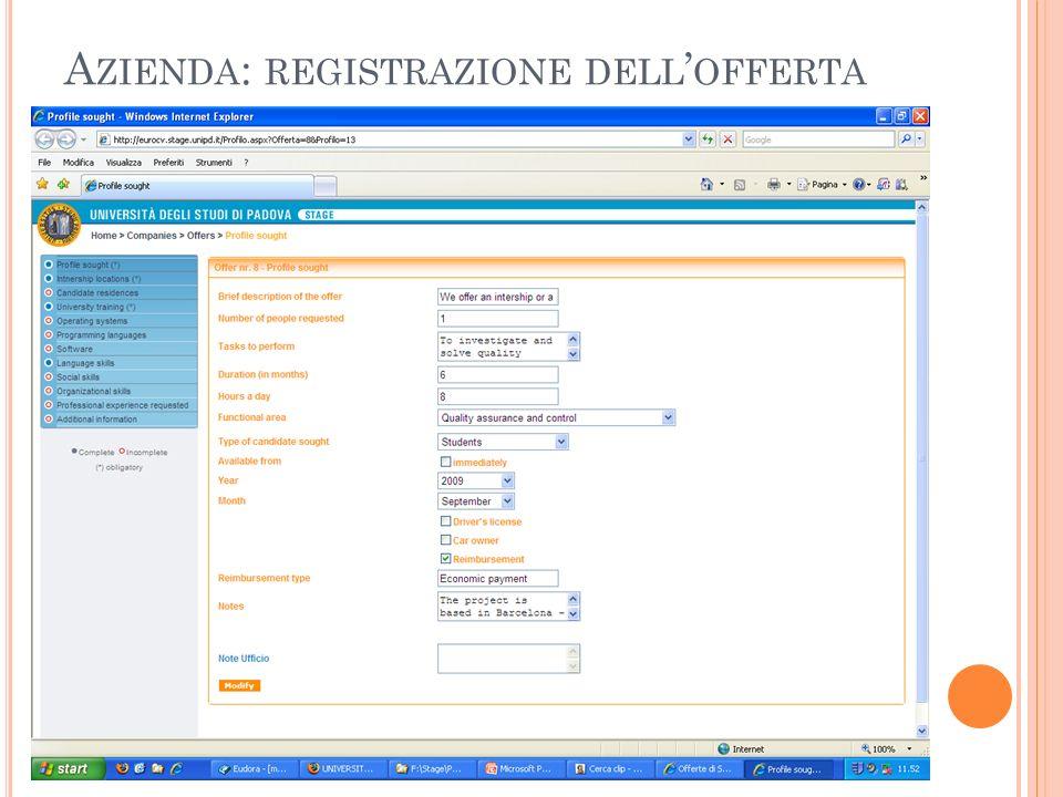 Azienda: registrazione dell'offerta