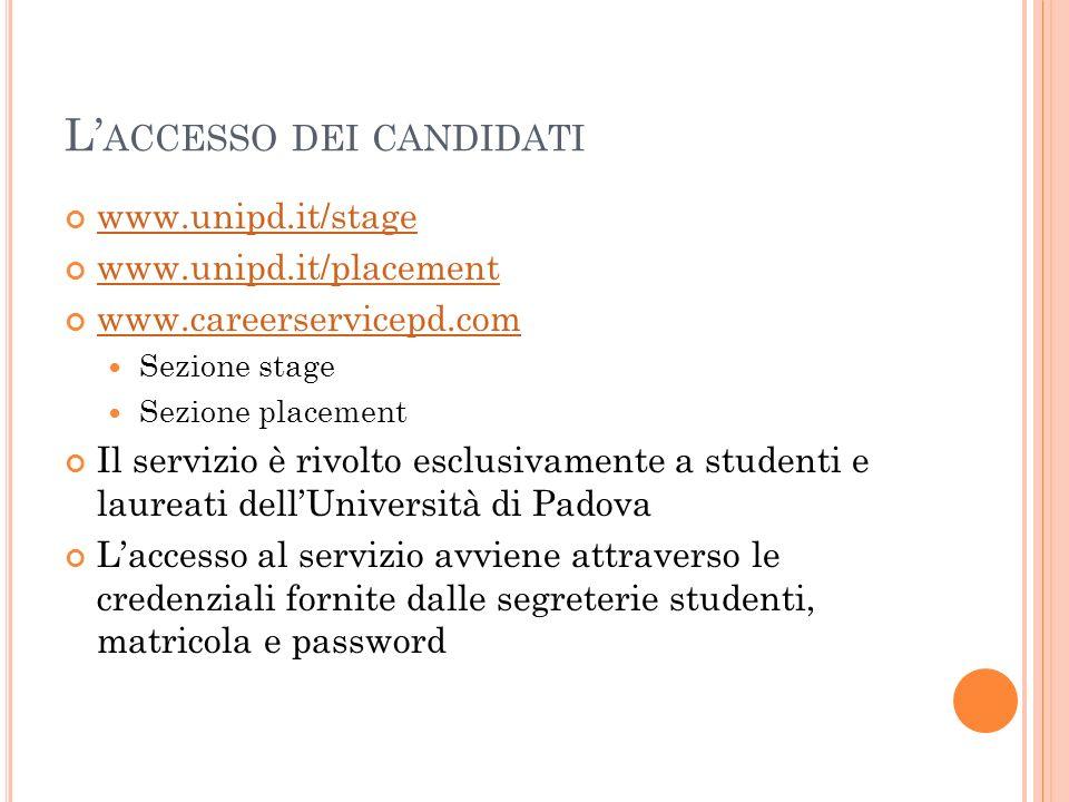L'accesso dei candidati