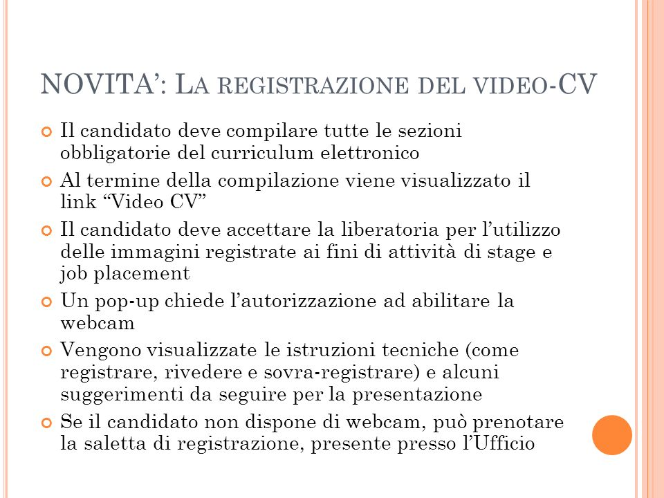NOVITA': La registrazione del video-CV