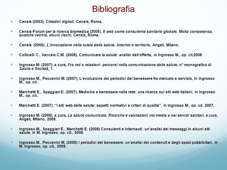 Bibliografia Censis (2003), Cittadini digitali, Censis, Roma.