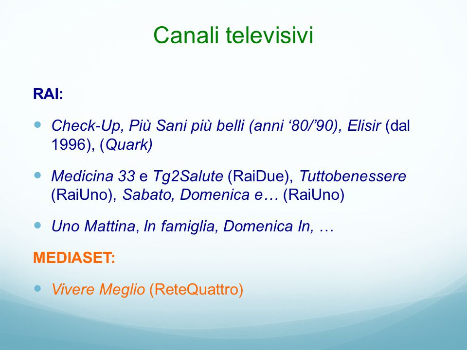 Canali televisivi RAI: