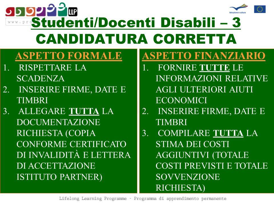 Studenti/Docenti Disabili – 3 CANDIDATURA CORRETTA