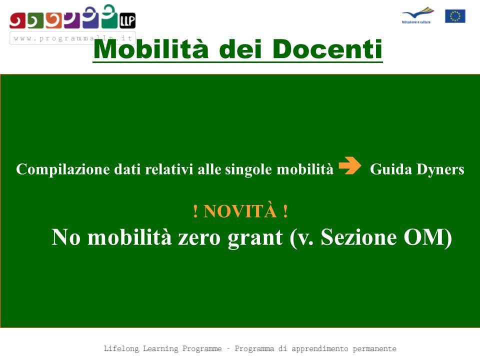 Mobilità dei Docenti No mobilità zero grant (v. Sezione OM) ! NOVITÀ !