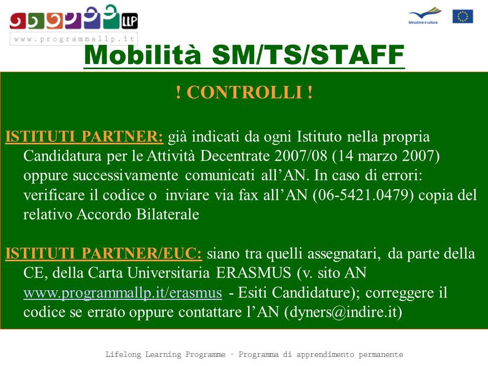 Mobilità SM/TS/STAFF ! CONTROLLI !
