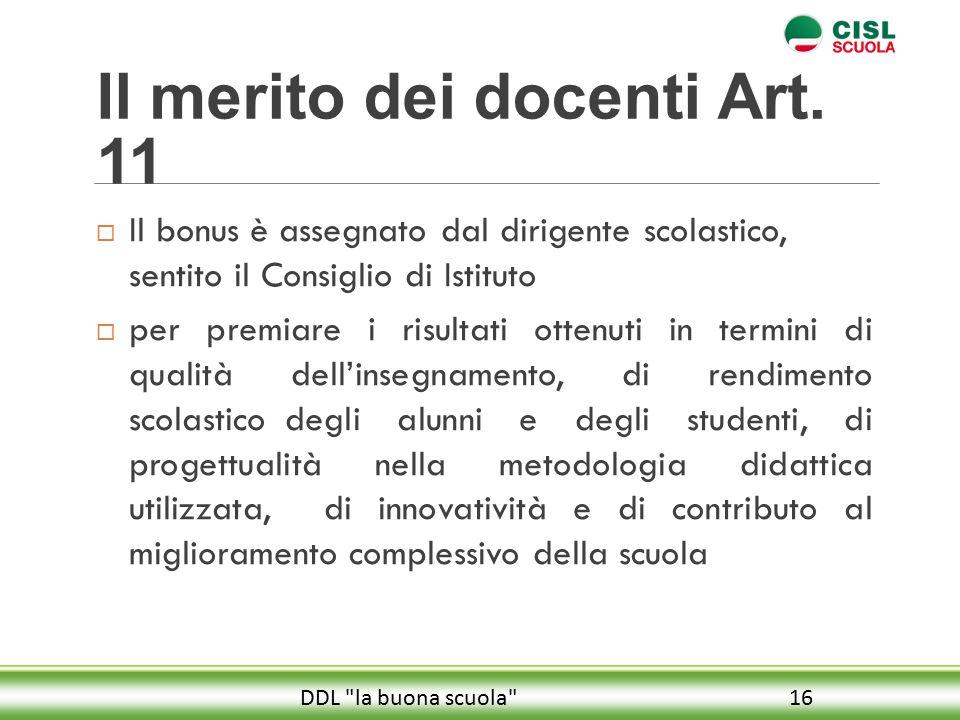 Il merito dei docenti Art. 11