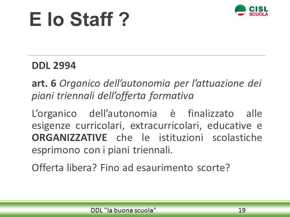 E lo Staff DDL 2994. art. 6 Organico dell'autonomia per l'attuazione dei piani triennali dell'offerta formativa.