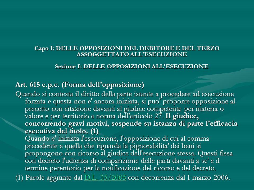 Art. 615 c.p.c. (Forma dell opposizione)