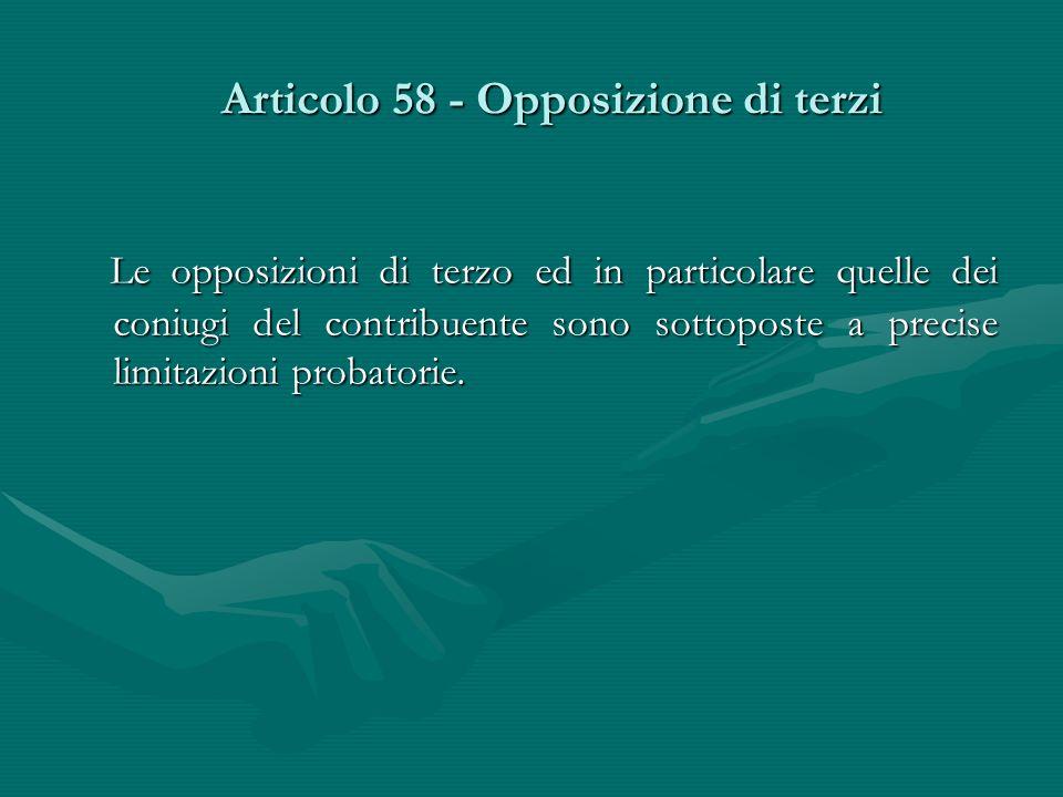 Articolo 58 - Opposizione di terzi
