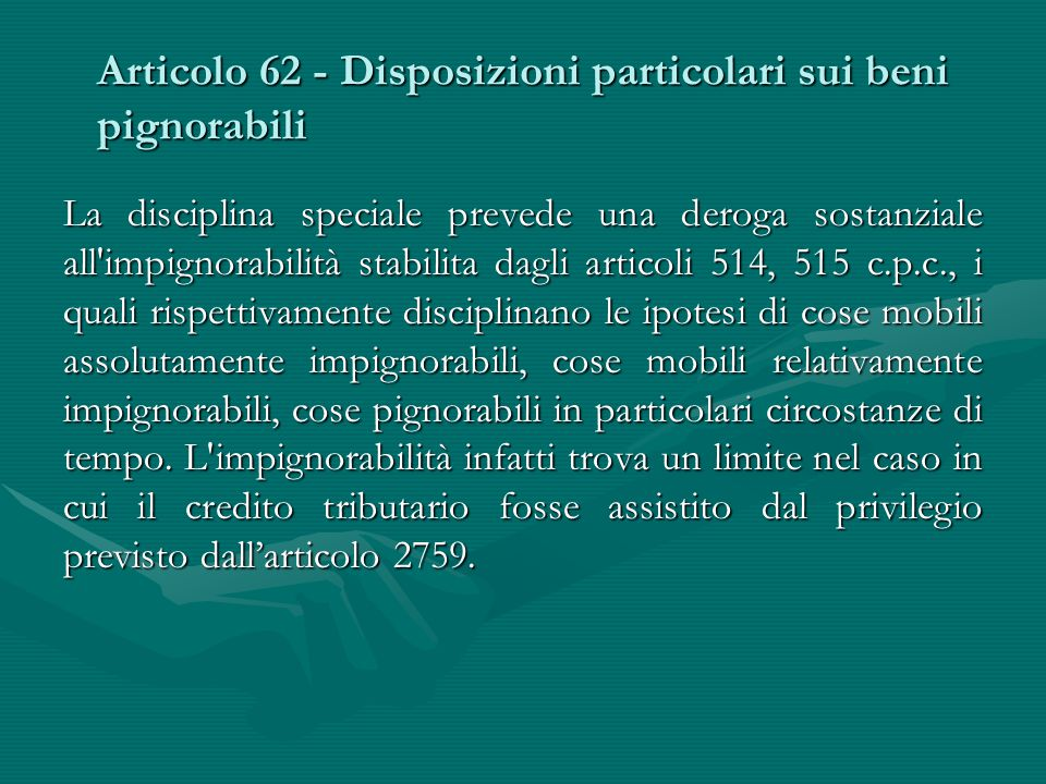 Articolo 62 - Disposizioni particolari sui beni pignorabili