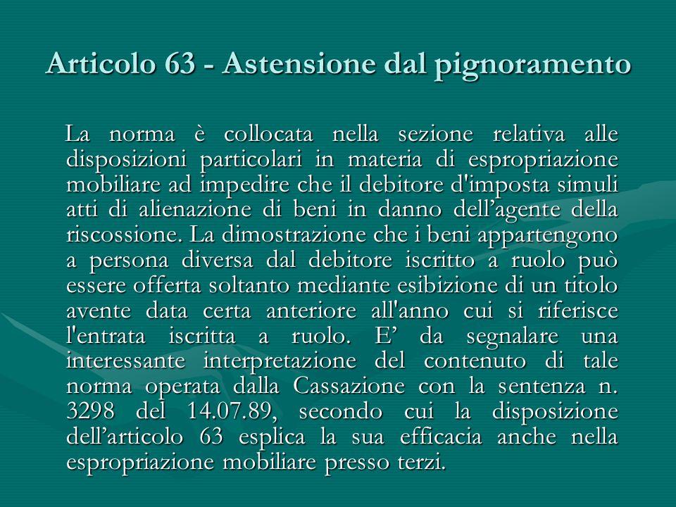 Articolo 63 - Astensione dal pignoramento