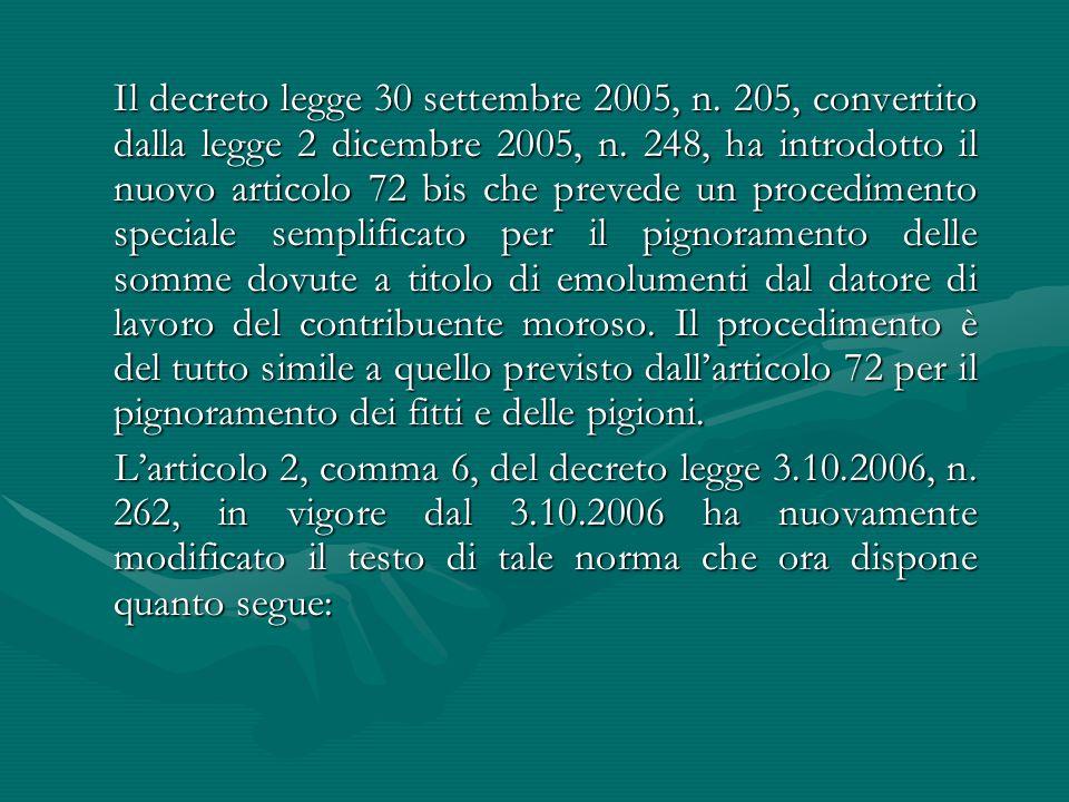 Il decreto legge 30 settembre 2005, n