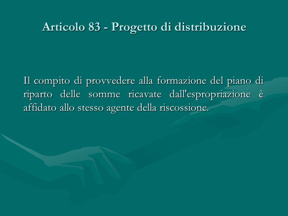 Articolo 83 - Progetto di distribuzione