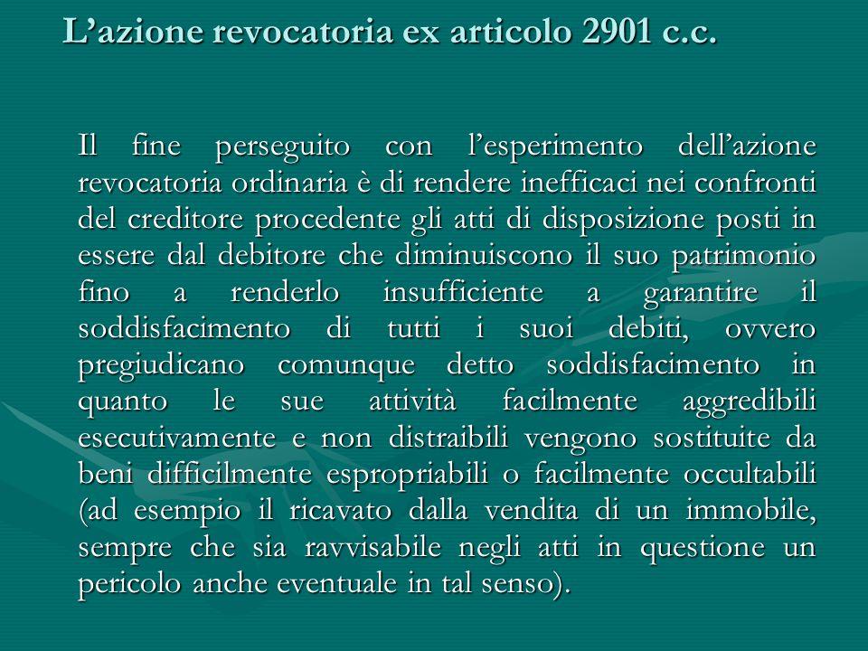L'azione revocatoria ex articolo 2901 c.c.