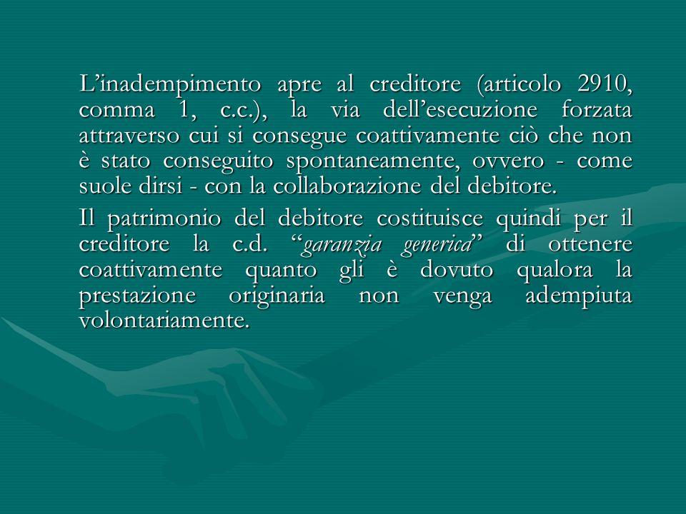 L'inadempimento apre al creditore (articolo 2910, comma 1, c. c