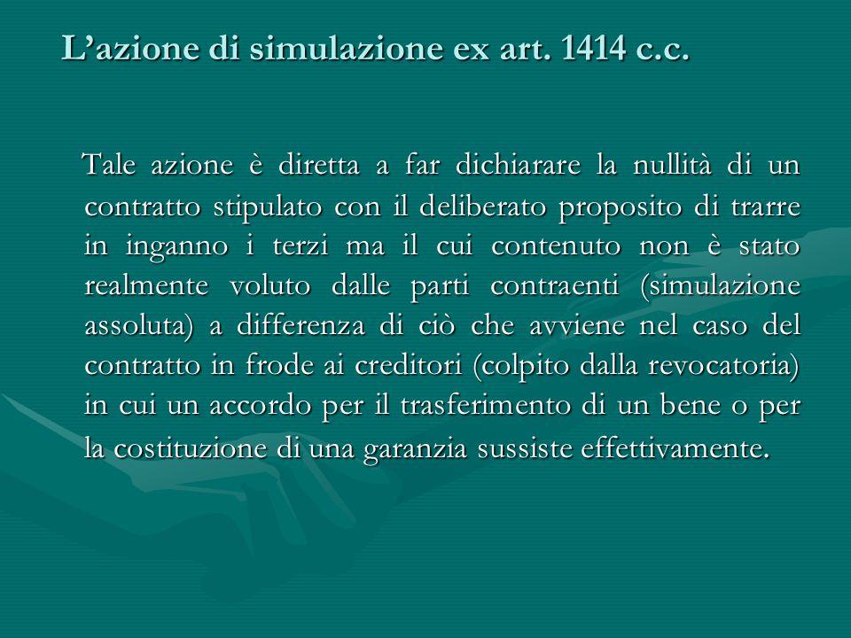 L'azione di simulazione ex art. 1414 c.c.