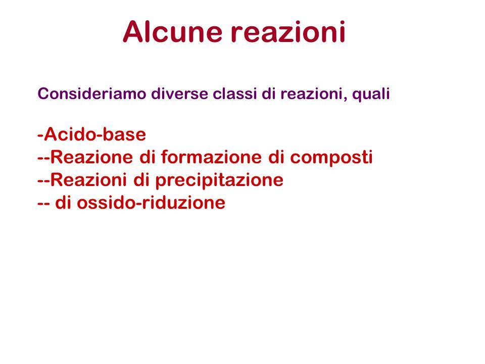 Alcune reazioni Acido-base -Reazione di formazione di composti