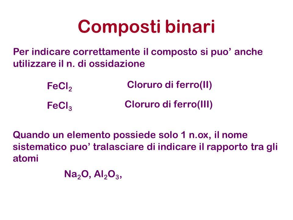 Composti binari Per indicare correttamente il composto si puo' anche utilizzare il n. di ossidazione.