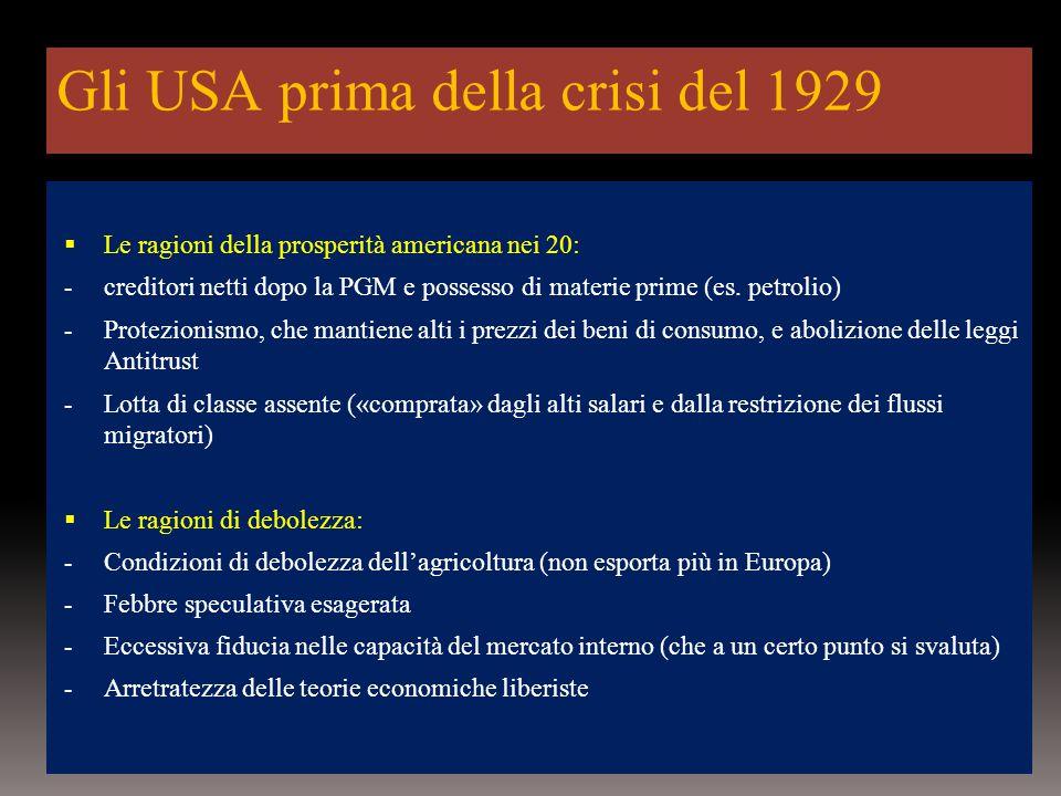 Gli USA prima della crisi del 1929