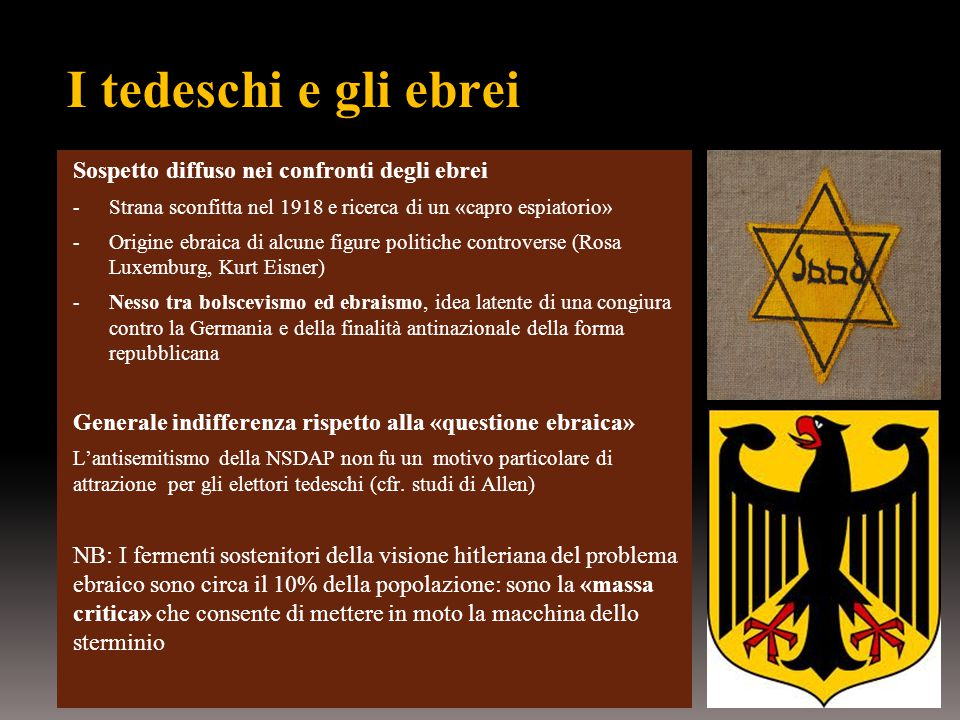 I tedeschi e gli ebrei Sospetto diffuso nei confronti degli ebrei
