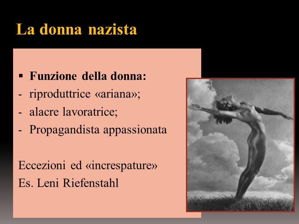 La donna nazista Funzione della donna: riproduttrice «ariana»;