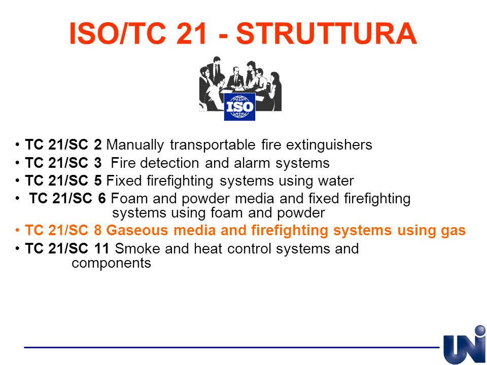 ISO/TC 21 - STRUTTURA TC 21/SC 2 Manually transportable fire extinguishers. TC 21/SC 3 Fire detection and alarm systems.
