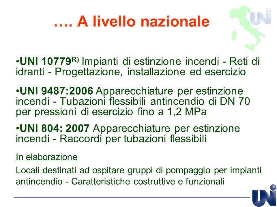 …. A livello nazionale UNI 10779R) Impianti di estinzione incendi - Reti di idranti - Progettazione, installazione ed esercizio.