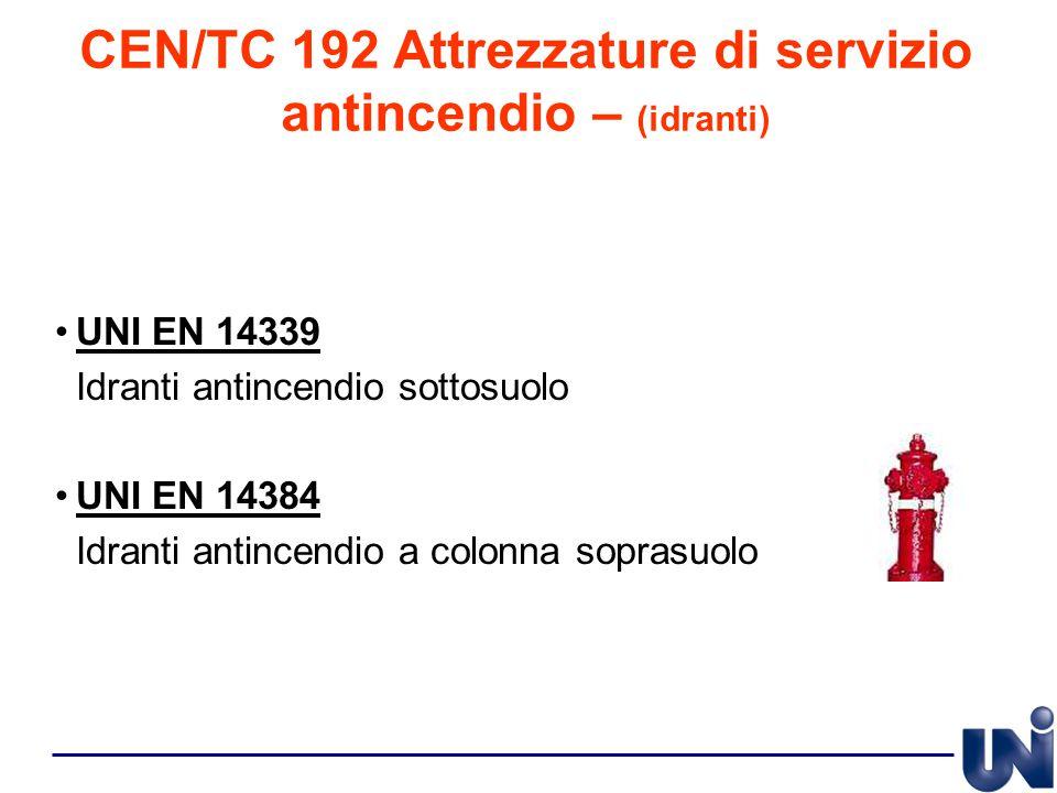 CEN/TC 192 Attrezzature di servizio antincendio – (idranti)