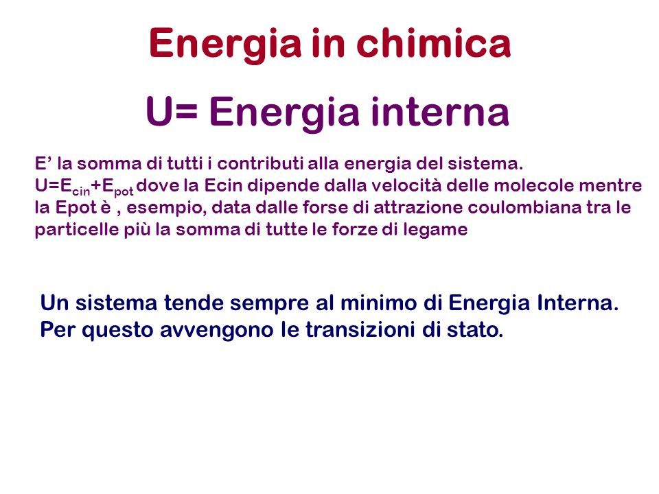Energia in chimica U= Energia interna
