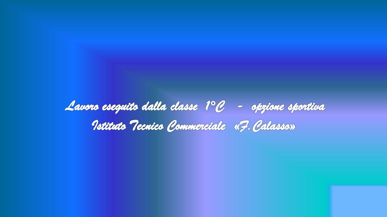 Lavoro eseguito dalla classe 1°C - opzione sportiva Istituto Tecnico Commerciale «F.Calasso»