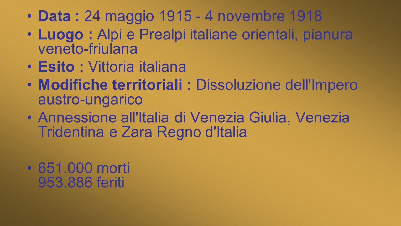 Data : 24 maggio 1915 - 4 novembre 1918