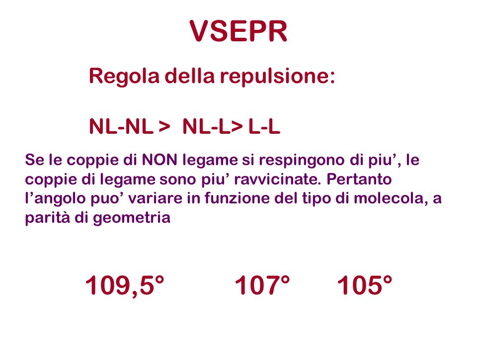 VSEPR 109,5° 107° 105° Regola della repulsione: