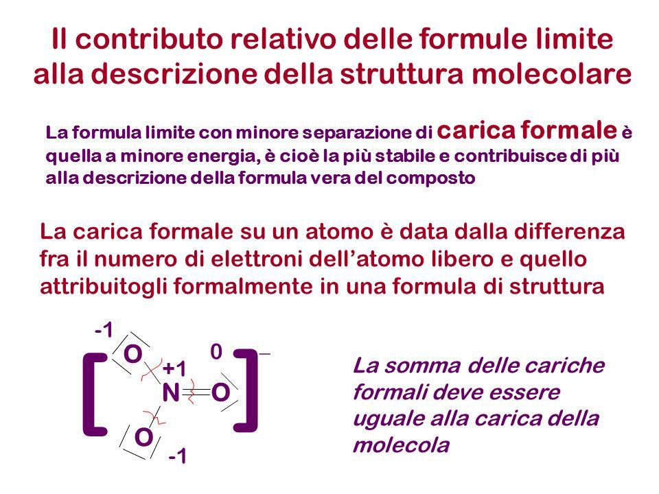 Il contributo relativo delle formule limite alla descrizione della struttura molecolare
