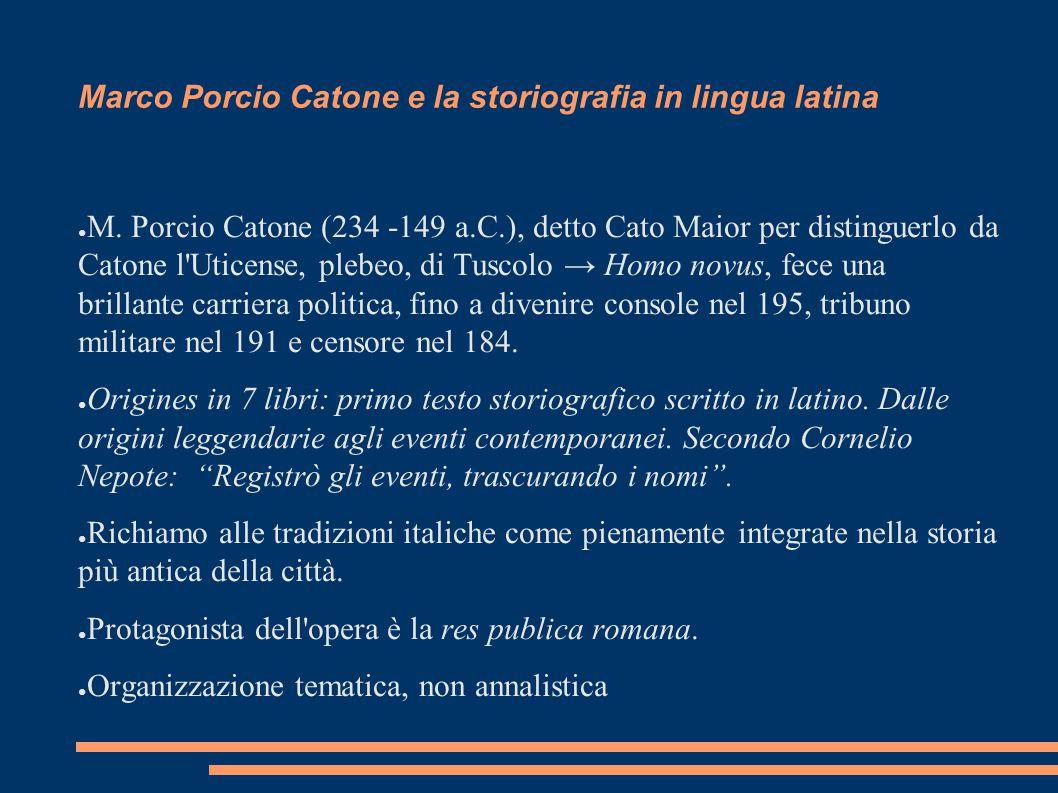 Marco Porcio Catone e la storiografia in lingua latina