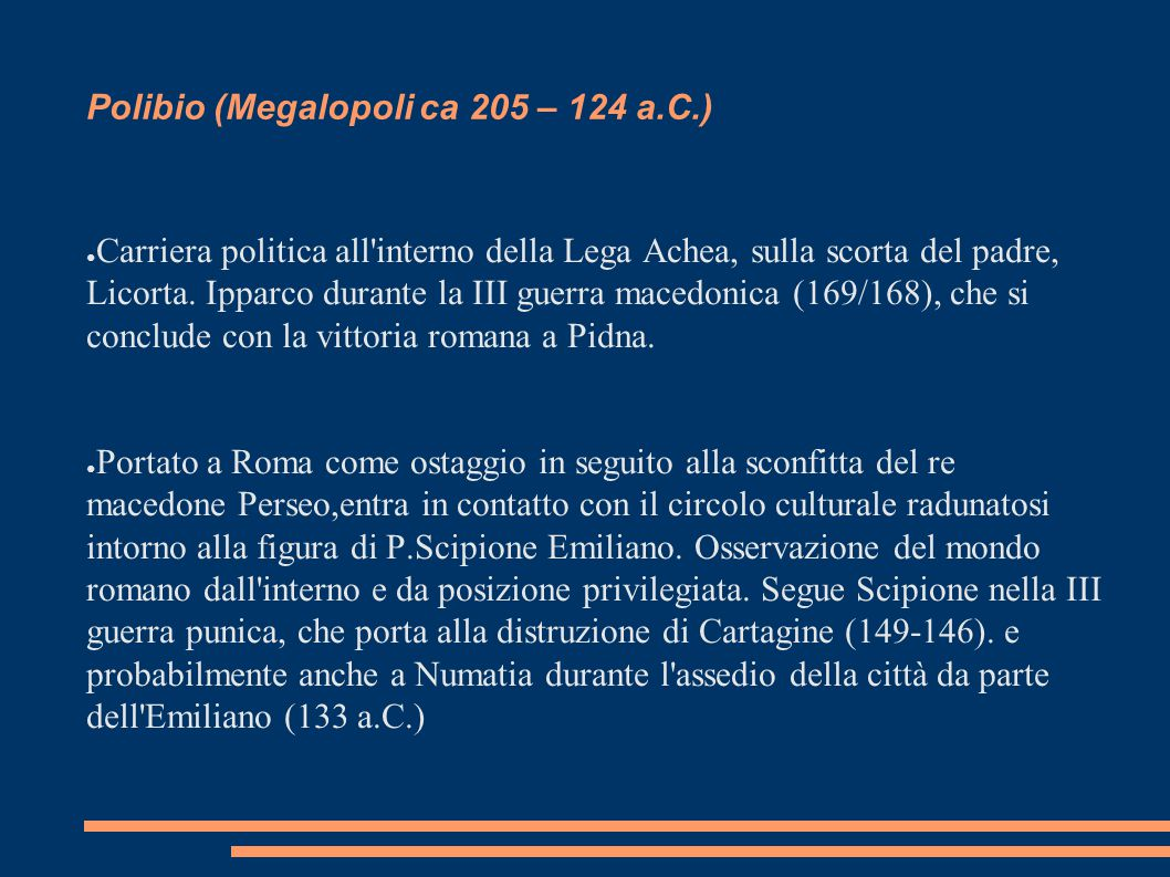 Polibio (Megalopoli ca 205 – 124 a.C.)