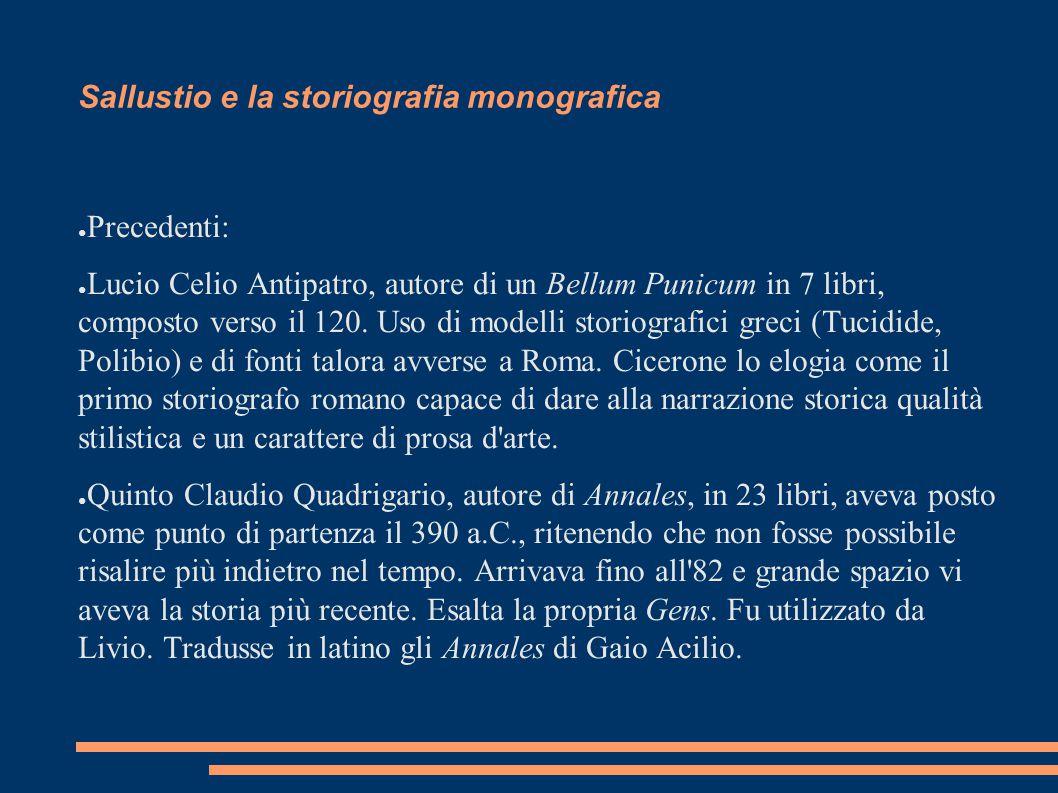 Sallustio e la storiografia monografica