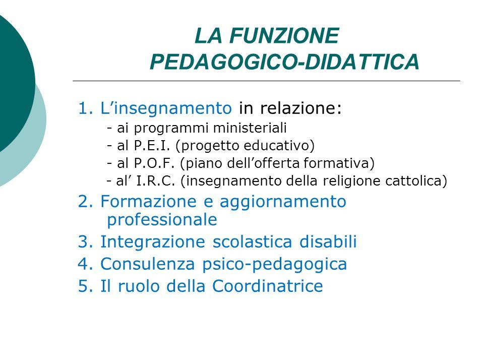 LA FUNZIONE PEDAGOGICO-DIDATTICA