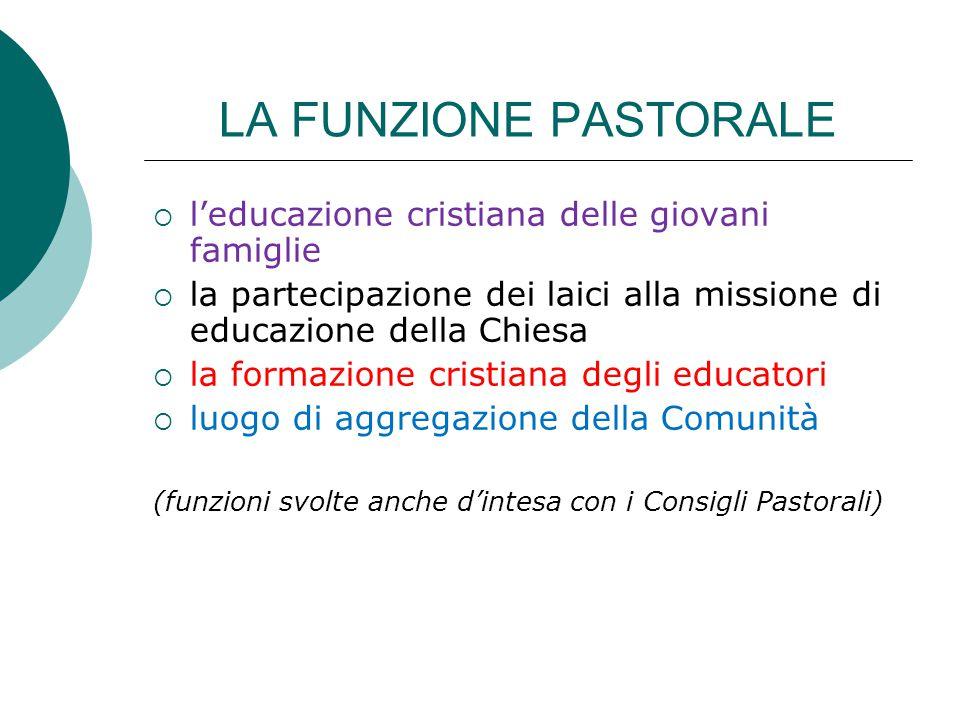 LA FUNZIONE PASTORALE l'educazione cristiana delle giovani famiglie