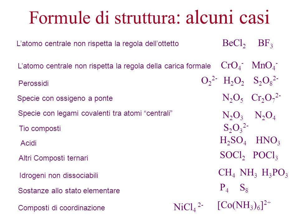 Formule di struttura: alcuni casi