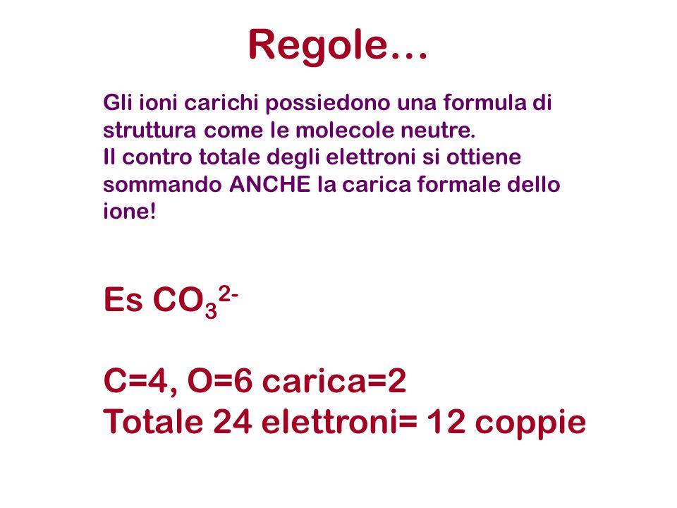 Regole… Es CO32- C=4, O=6 carica=2 Totale 24 elettroni= 12 coppie