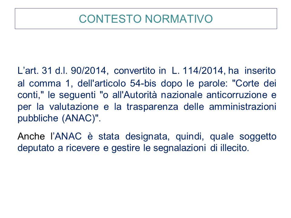 CONTESTO NORMATIVO L'art. 31 d.l. 90/2014, convertito in L. 114/2014, ha inserito.
