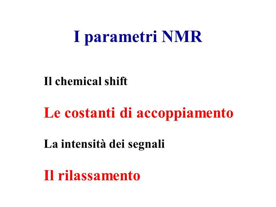 I parametri NMR Le costanti di accoppiamento Il rilassamento
