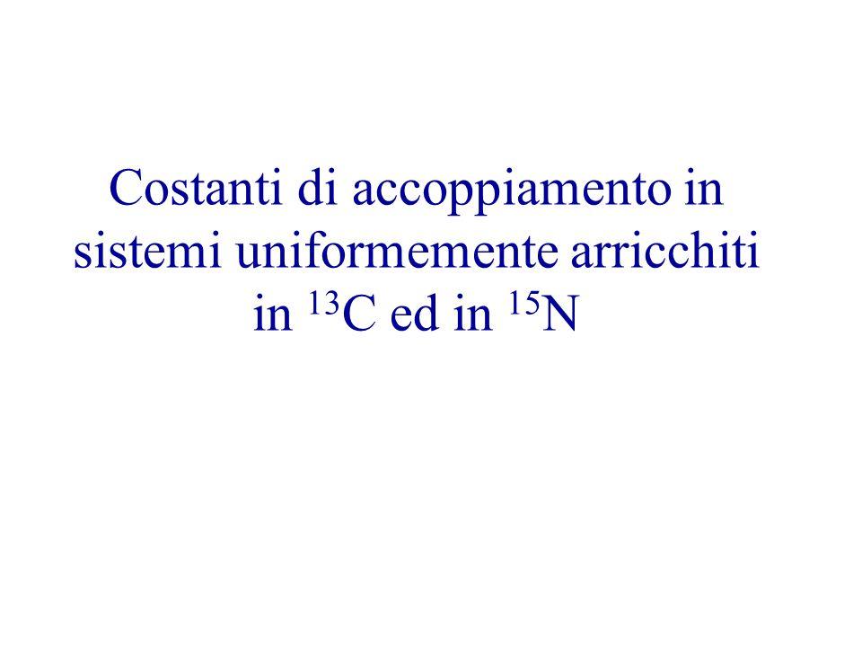 Costanti di accoppiamento in sistemi uniformemente arricchiti in 13C ed in 15N