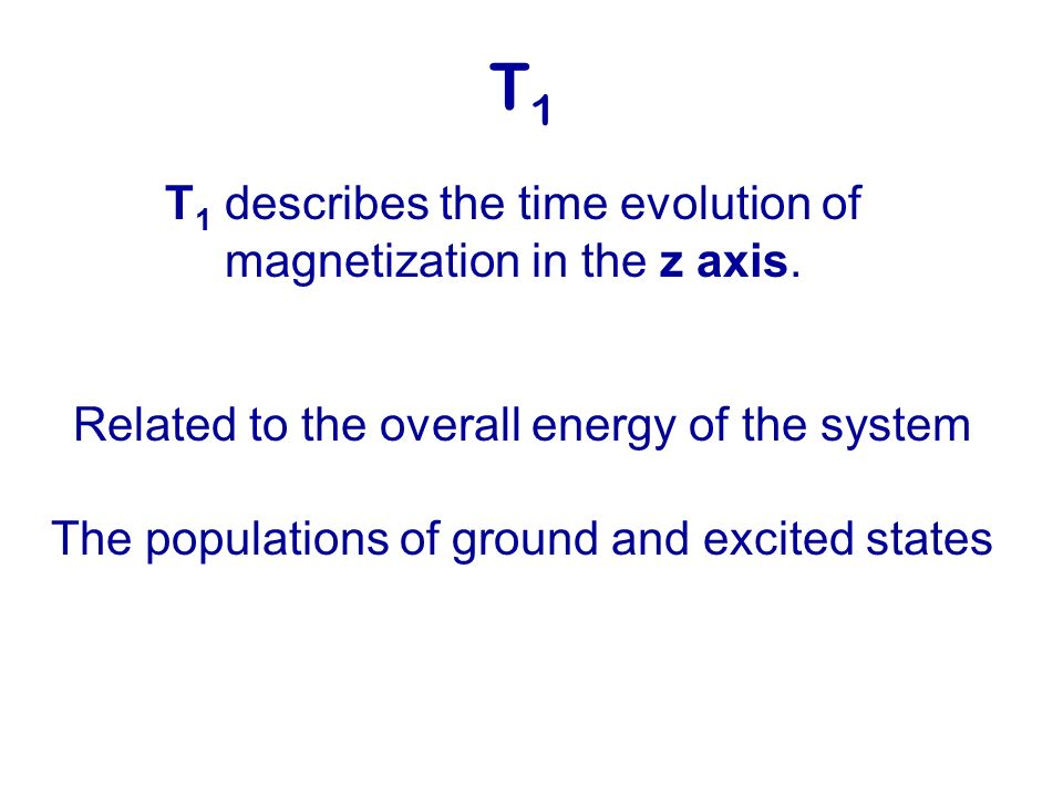 T1 T1 describes the time evolution of magnetization in the z axis.