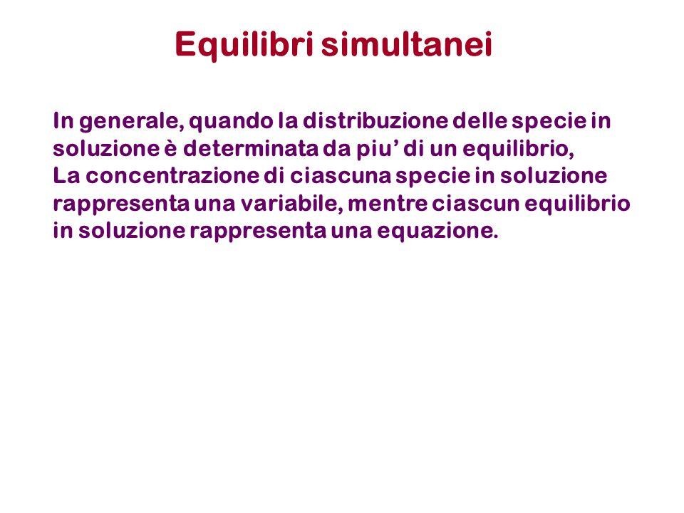Equilibri simultanei In generale, quando la distribuzione delle specie in soluzione è determinata da piu' di un equilibrio,