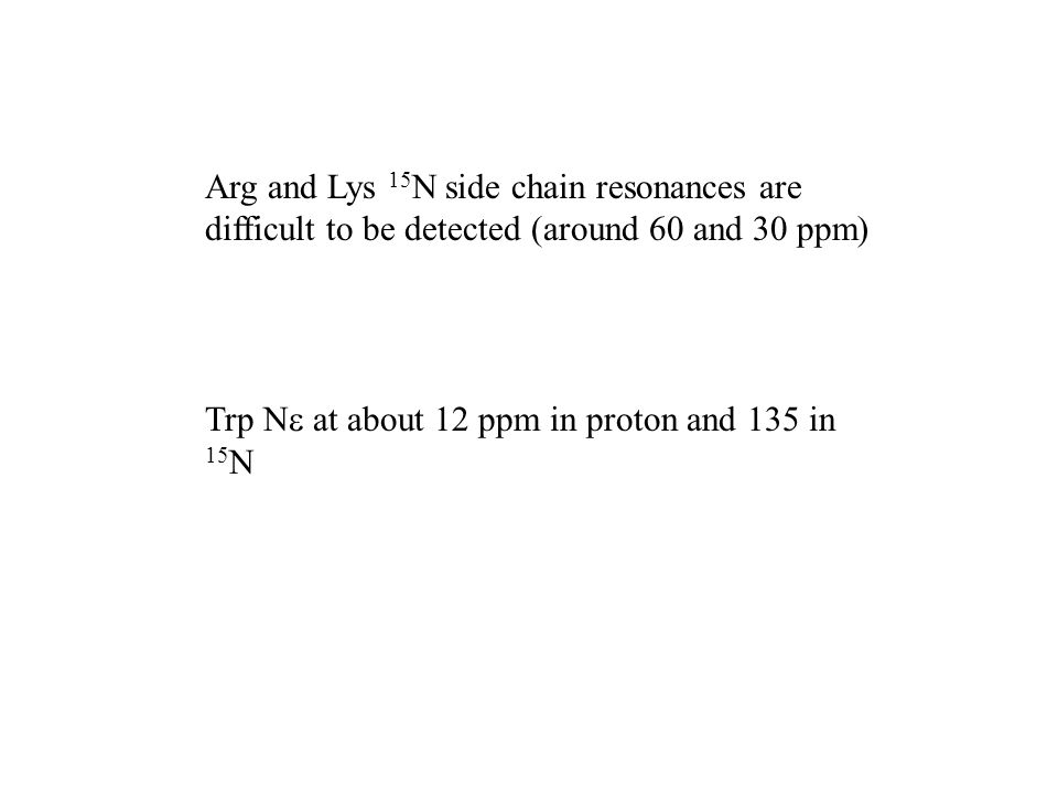 Arg and Lys 15N side chain resonances are difficult to be detected (around 60 and 30 ppm)