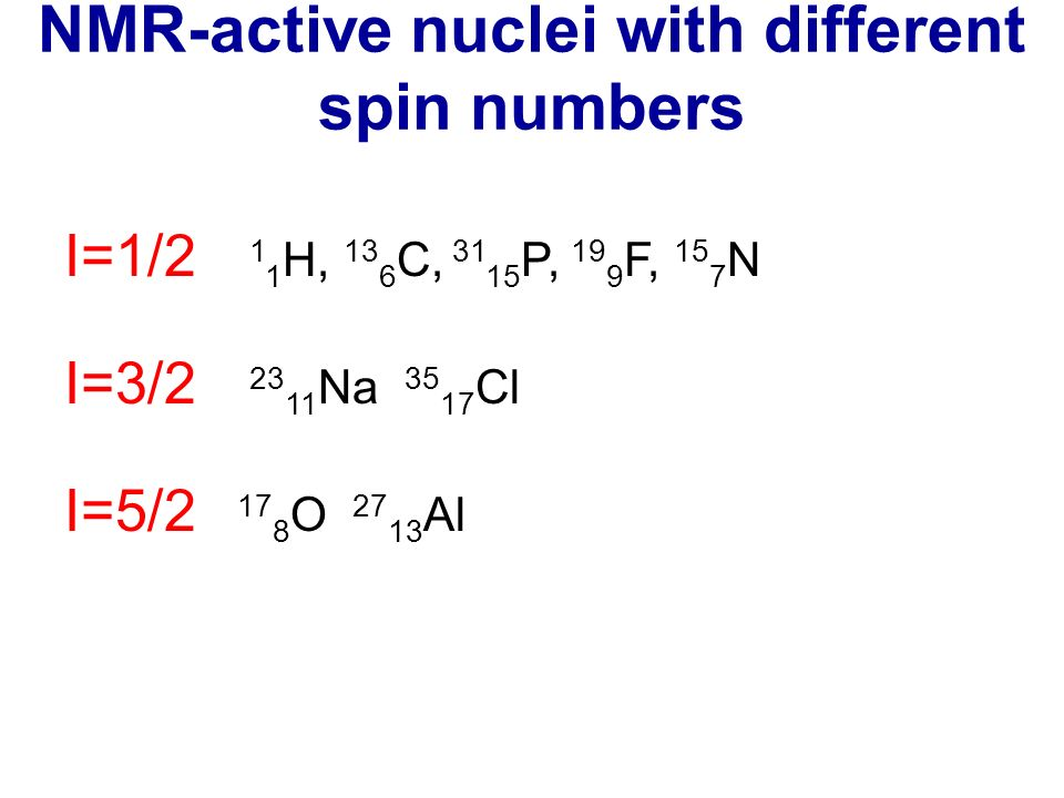 NMR-active nuclei with different spin numbers