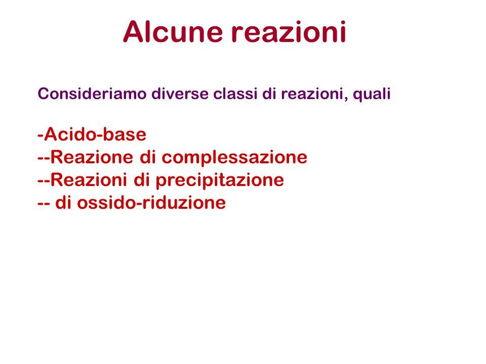 Alcune reazioni Acido-base -Reazione di complessazione