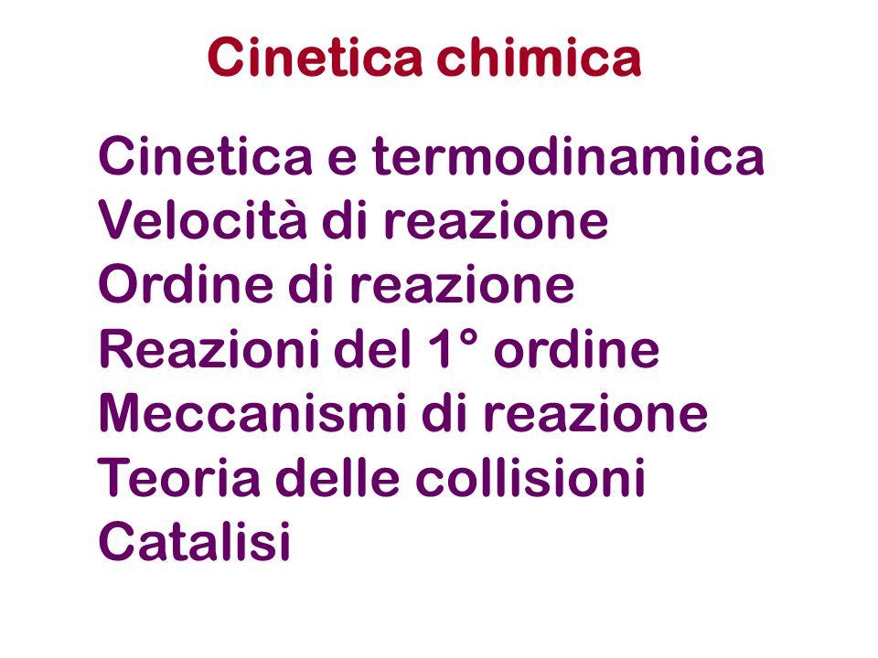 Cinetica chimica Cinetica e termodinamica. Velocità di reazione. Ordine di reazione. Reazioni del 1° ordine.