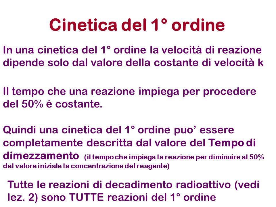 Cinetica del 1° ordineIn una cinetica del 1° ordine la velocità di reazione dipende solo dal valore della costante di velocità k.