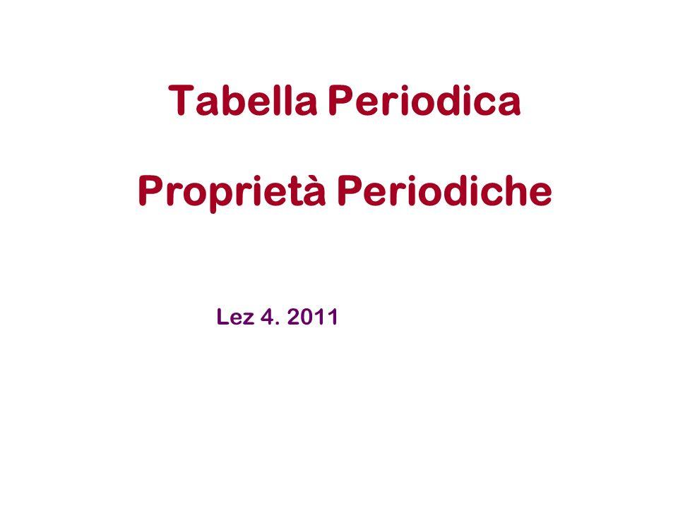Tabella Periodica Proprietà Periodiche